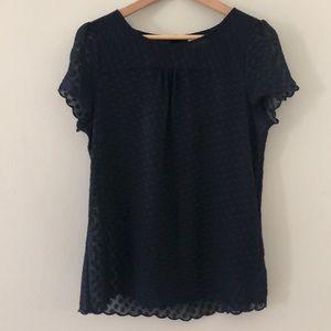 ANTHROPOLOGIE Maeve blue polka dot short sleeve